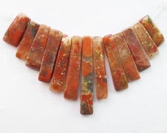 Natural Bloodstone (Heliotrope) Freeform Pendant Bead Set. Lot 13 pcs: 26x4x4 mm - 11x4x4 mm