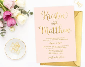 Pink Gold Wedding Invitation, Printable Wedding Invitation, Blush Pink and Gold Wedding Invitation, Faux Gold Foil Wedding Invite PGFWF