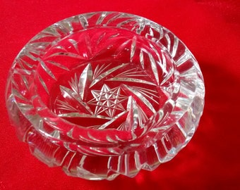 Vintage Personal Pinwheel Crystal Ashtray