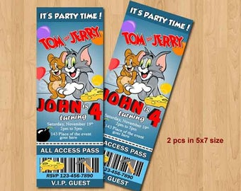 Tom and Jerry Birthday Invitation. Tom and Jerry Invites. Tom & Jerry Ticket Style Invites. Digital (you print)