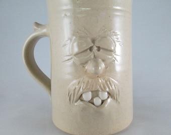 FACE COFFEE MUG, Whimsical Handmade Stoneware Coffee Cup in Clear Glaze