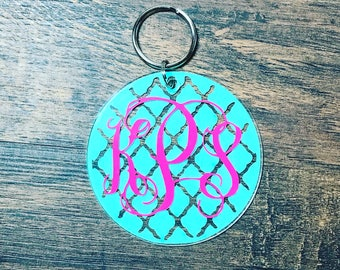 Monogrammed Key chain | Monogram Keychain | Personalized Key Ring | Sweet 16 Gift | New Driver Gift | Teenager Gift | Monogrammed Gift