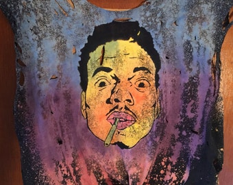 Chance the Rapper Crop Distressed Hand Made Galaxy T-Shirt