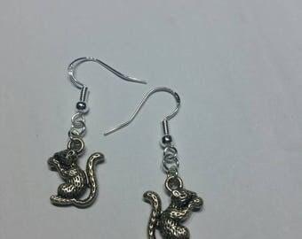 Squirrel earrings,  squirrel pendant, squirrel beads, sterling silver earrings