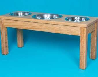 Elevated Dog Feeder with One Stainless Steel 2 Quart Bowl, Two 1 Quart bowls, Solid Oak Wood