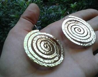 Brass spiral earrings silver hook martelato