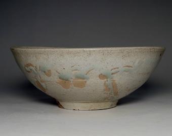 Vintage Japanese Glazed Pottery Bowl in Tokoname Ware #2534