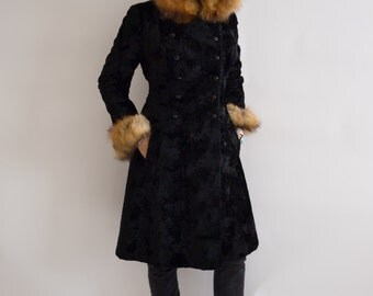 Vintage 1970's Black Velvet And Fox Fur Hooded Midi Coat, Size-Small