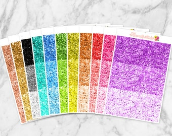 Glitter Headers Planner Stickers | Great for Erin Condren Life Planners, Happy Planners, Personal Planners &more! | Colorful Glitter Headers