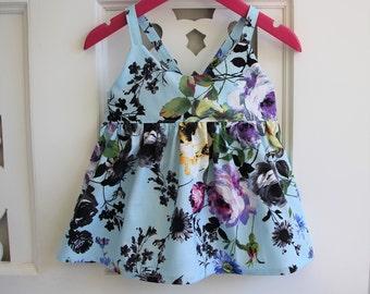 SALE - Toddler Girls Top Size 2 Hummingbird Top / kids clothing / Boho Chic Blue Floral / babies clothing / 24 months / Peplum Top