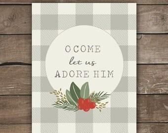 O Come Let Us Adore Him, Christmas Print, Wall Print, Plaid