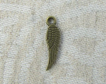 Set of (12) Bronze Angel Wing (smaller) Charms, 12 per package SFF029BZ