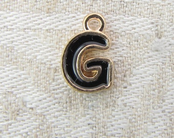 """Black and Gold Enamel Letter """"G"""" Charm, 1 or 5 letters per package  ALF026g-B"""