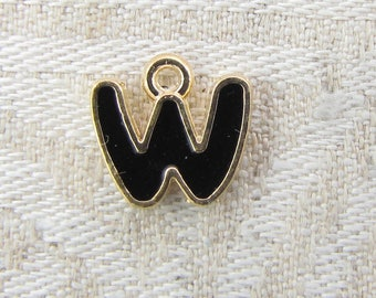 "Black and Gold Enamel Letter ""W"" Charm 1 or 5 letters per package  ALF026w-B"