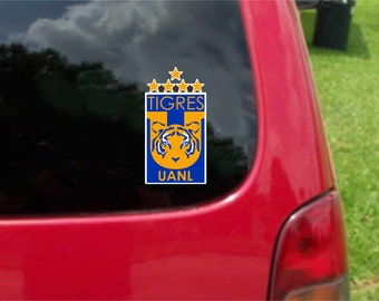 2 Pieces Tigres UANL  Futbol Mexico  Decals Stickers Full Color/Weather Proof. U.S.A Free Shipping