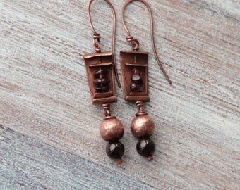 Garnet earrings long copper earrings garnet earings boho earrings artisan earrings rustic earrings copper earrings copper jewelry