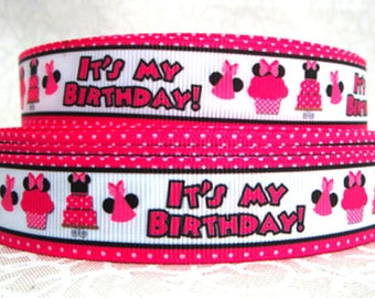 "7/8"" inch It's My Birthday - Birthday Girl - Mouse Hot Pink on White -  Printed Grosgrain Ribbon for Hair Bow TheFabFind"