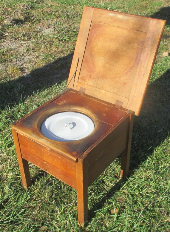 Wooden Step Stool Bedside: Wooden Commode Stool No Plumbing Bedside Chamber Pot Potty