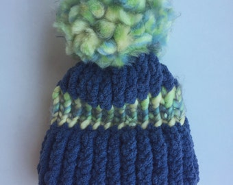 Blue and Green Baby Boy Knit Hat, Baby Boy Blue and Green Knitted Hat, Baby Shower Gift Knit Beanie Hat, Loom Knit, Winter Hat, Baby Gift