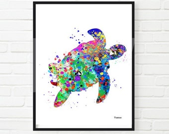 Sea Turtle Watercolor Art Home Decor Wall Decor INSTANT  DOWNLOAD  Printable Digital Animal Art Illustration 8 x 10