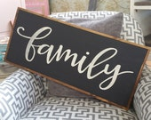 Family Sign, Large Family Sign, Wood Family Sign, Farmhouse Family Sign, Handwritten Family Sign, Wood Sign, Housewarming Sign