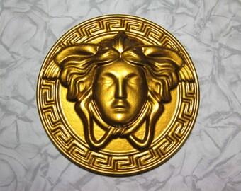 gold color shiny face gargon small decoration craft Medusa Gorgon head roundel mask locket amulet emblem 5 inches