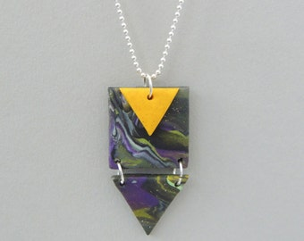Marbled Polymer Clay Necklace, Pendant Necklace, Geometric Necklace, Statement Necklace, Aztec Necklace, Modern Necklace