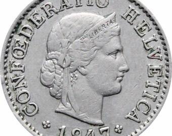 1947 Switzerland 5 Rappen Coin