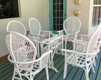 Newly Lacquered Vintage Rattan Dining Set