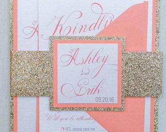 Coral Wedding Invite | Etsy