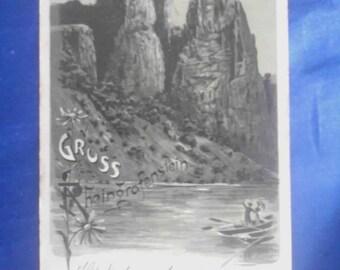 Vintage German 1900 Postcard, Greetings from Rheingrafenstein, Used