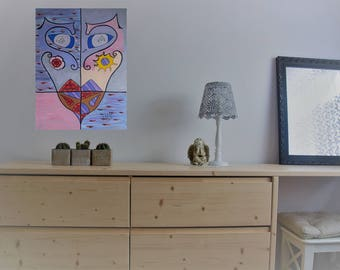 Original modern acrylic painting on canvas abstract face