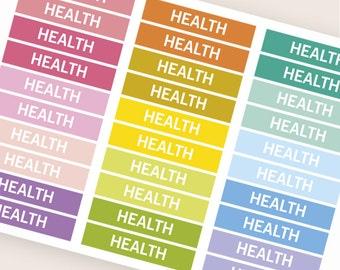 Health Heading stickers, planner header stickers, planner stickers, agenda notebook journal stickers, eclp filofax happy planner kikkik