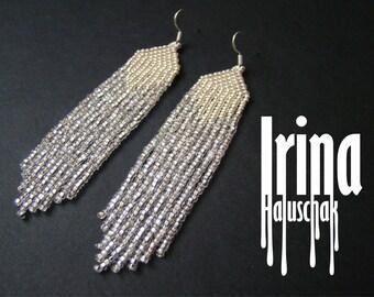 Silver earrings. Silver beaded earrings. Seed bead earrings. modern earrings, boho earrings, fringe earrings,  beadwork jewelry