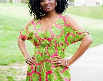 Sankofa Open Shoulder  Dress.