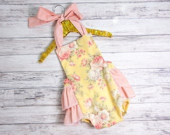 Baby Girl Romper- Yellow and Peach Floral ruffle romper and head wrap set, Yellow outfit, first birthday, baby girls ruffle romper