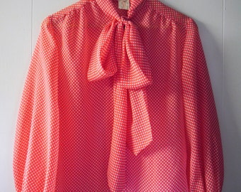 60's/70's Red and white polka dot sheer blouse with front tie