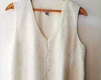 Cream Vest with Embroided and Beaded Detailing