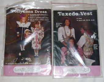 2 Vintage 1980s Gooseberry Hill Patterns - Tuxedo Vest and Pollyanna Dress Uncut & Unused