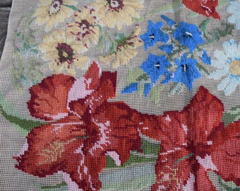 Large Unfinished Floral Needlepoint Embroidery