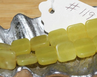 """16"""" Strand of 10mm Smooth Flat Square New Jade Beads #119"""