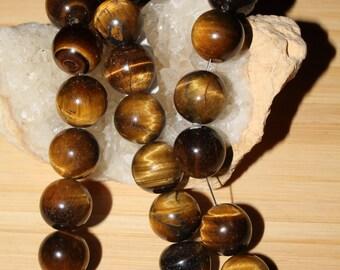 "16"" Strand of 12mm Smooth Round Tiger Eye Beads #90"