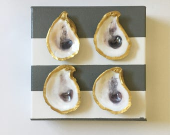 """6""""x6"""" Oyster shell canvas - stripe"""