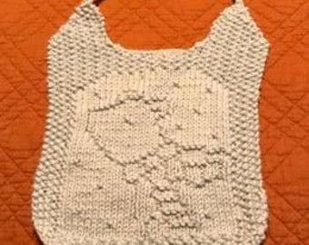 Hand Knit Polar Bear Bib & Washcloth Set