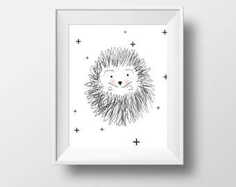 Hedgehog Art Print, Animal Art Print, Woodland Animal Art, Kids room decor, Animal Nursery decor