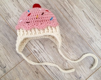Cupcake baby girl newborn cherry sprinkles crochet hat