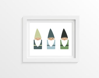 "Woodland Nursery. Baby Room Gnome Print. 11x14"" Digital Download."