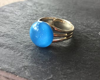 Small blue ring, Sky blue ring, small blue ring, medium blue ring, bright blue ring, fused glass ring, adjustable ring, fused glass ring