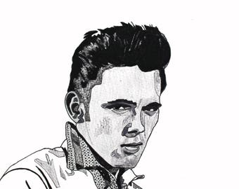 Billy Fury hand-drawn drawing / painting
