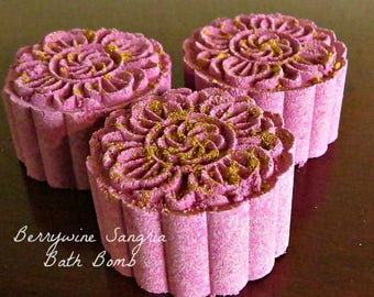 Bath Bombs - Berrywine Sangria Bath Bombs - Wine Lovers Gift - Scented Bath Fizzy - Homemade Bath Bomb - Wine Bath Bomb - Gift for Her